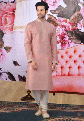 Embroidered Placket Art Silk Kurta Set in Peach