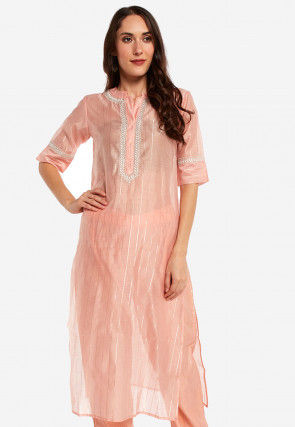 Embroidered Placket Art Silk Straight Kurta Set in Peach