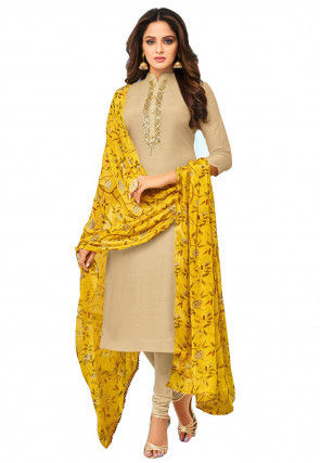 Embroidered Placket Chanderi Cotton Straight Suit in Beige