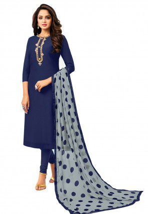 Embroidered Placket Chanderi Cotton Straight Suit in Navy Blue