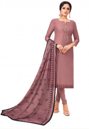 Embroidered Placket Chanderi Cotton Straight Suit in Old Rose