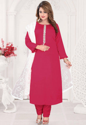 Embroidered Placket Chinon Chiffon Pakistani Suit in Pink