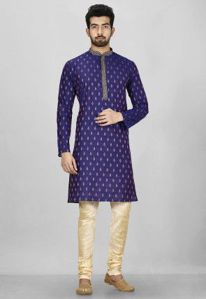 Embroidered Placket Cotton Silk Jacquard Kurta in Blue