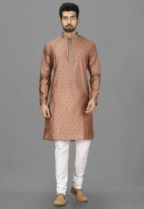 Embroidered Placket Cotton Silk Jacquard Kurta in Brown