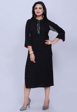 Embroidered Placket Cotton Straight Kurta in Black