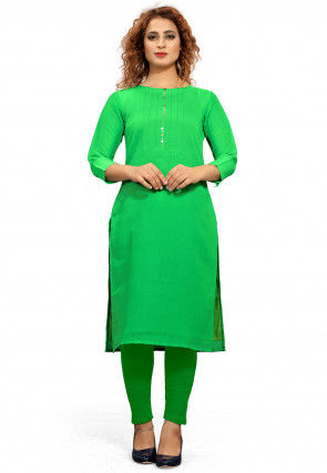 Embroidered Placket Cotton Straight Kurta in Green