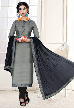Embroidered Placket Cotton Straight Suit in Grey