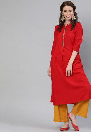 Embroidered Placket Viscose Rayon A Line Kurta in Red