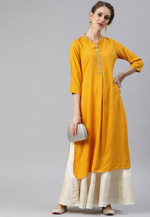 Embroidered Placket Viscose Rayon Straight Kurta in Mustard
