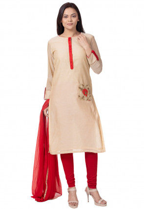 Embroidered Pocket Chanderi Cotton Straight Suit in Beige