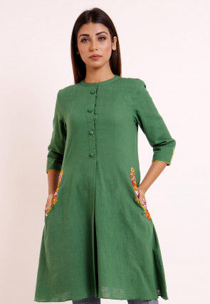 Embroidered Pocket Cotton Slub A Line Pleated Kurti in Green