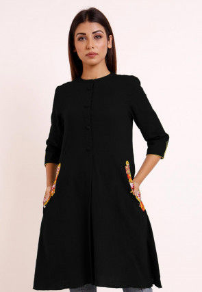Embroidered Pocket Cotton Slub A Line Pleated Kurti in Black