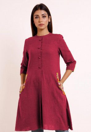 Embroidered Pocket Cotton Slub A Line Pleated Kurti in Magenta