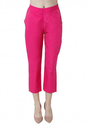 Embroidered Pocket Edge Cotton Pant in Fuchsia