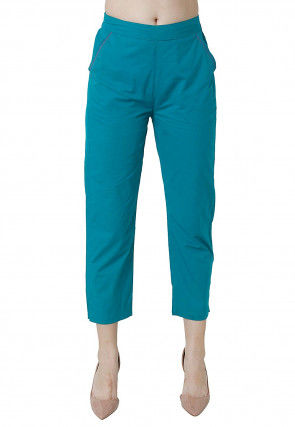 Embroidered Pocket Edge Cotton Pant in Teal Blue