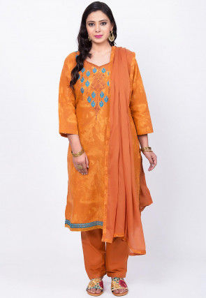 Embroidered Poly Cotton Pakistani Suit in Light Rust