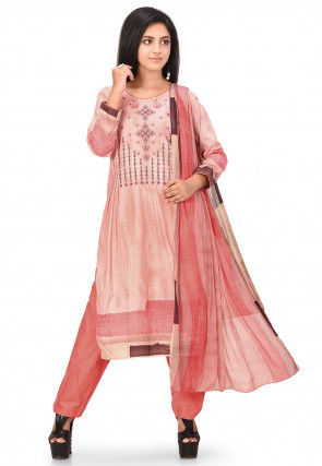 Embroidered Poly Cotton Pakistani Suit in Peach