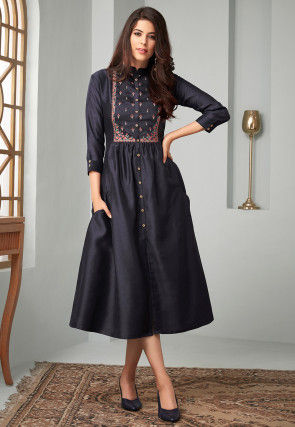 Embroidered Poly Cotton Slub A Line Kurta in Navy Blue