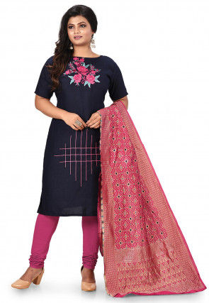 Embroidered Poly Cotton Straight Suit in  Navy Blue
