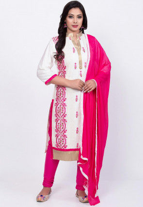 Embroidered Poly Cotton Straight Suit in Off White