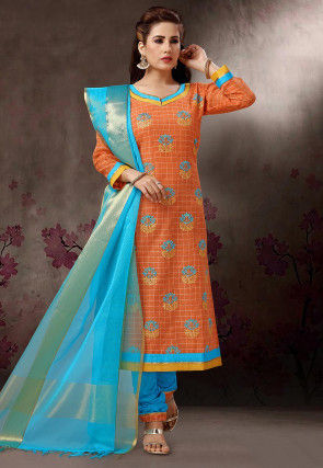 Embroidered Poly Cotton Straight Suit in Orange