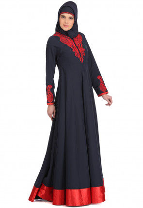 Embroidered Polyester Anarkali Kurta in Navy Blue
