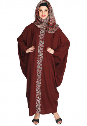 Embroidered Polyester Batwing Kaftan in Maroon