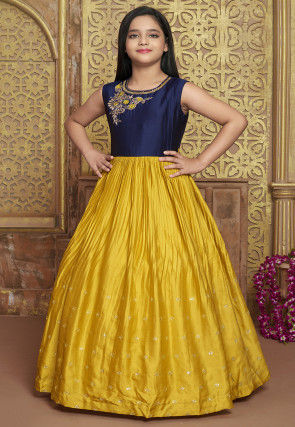 Embroidered Polyester Gown in Mustard and Navy Blue