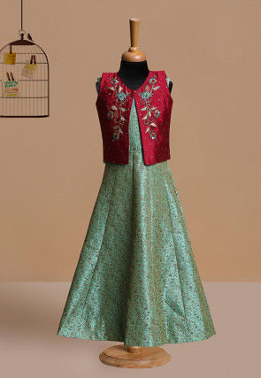 Embroidered Polyester Gown in Teal Blue