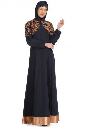Embroidered Polyester Jacket Style Anarkali Kurta in Navy Blue