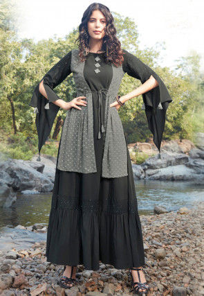 Embroidered Polyester Jacket Style Maxi Dress in Black and Grey