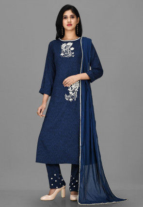 Embroidered Polyester Jacquard Pakistani Suit in Navy Blue