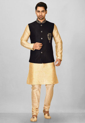 Embroidered Polyester Knitted Nehru Jacket in Black