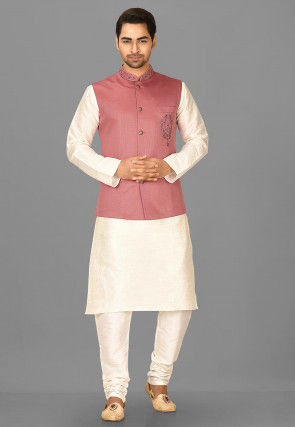 Embroidered Polyester Knitted Nehru Jacket in Old Rose
