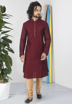 Embroidered Polyester Kurta Set in Maroon