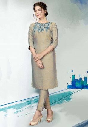 Embroidered Polyester Kurta with Pant in Beige