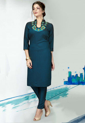 Embroidered Polyester Kurta with Pant in Teal Blue
