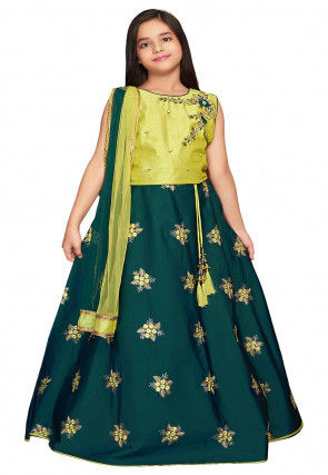 Embroidered Polyester Lehenga in Teal Green