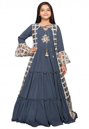 Embroidered Polyester Tiered Jacket Style Gown in Grey