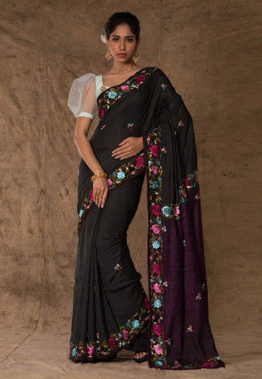 Embroidered Pure Bhagalpuri Silk Saree in Black