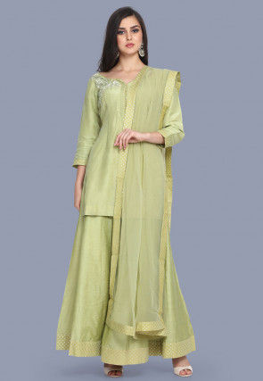 Embroidered Pure Chanderi Silk Pakistani Suit in Light Olive Green