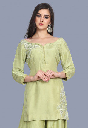 Embroidered Pure Chanderi Silk Straight Kurti in Light Olive Green