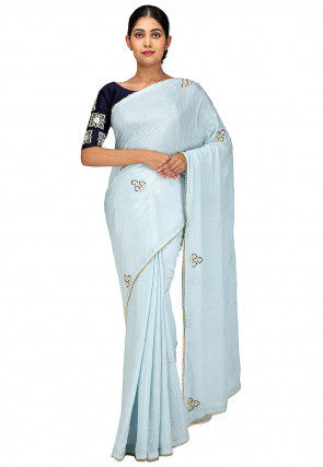 Embroidered Pure Chiffon Saree in Sky Blue