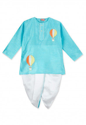 Embroidered Pure Cotton Dhoti Kurta in Light Blue