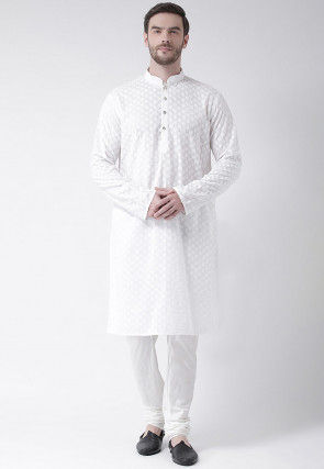 Embroidered Pure Cotton Kurta Set in White