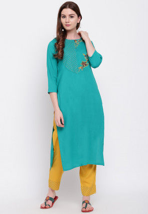 Embroidered Pure Cotton Straight Kurta Set in Blue