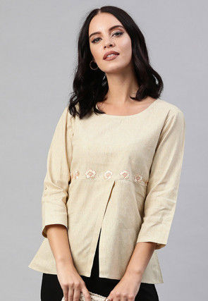 Embroidered Pure Cotton Top in Beige