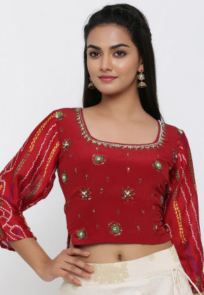 Embroidered Pure Crepe Blouse in Maroon