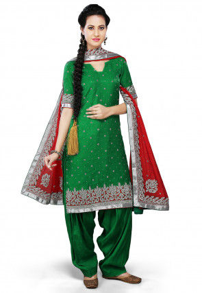 Embroidered Pure Crepe Jacquard Punjabi Suit in Green