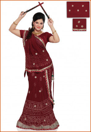 Embroidered Pure Crepe Lehenga in Maroon